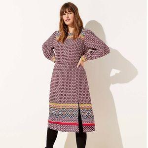 NWT LOFT Plus Mosaic Border Midi Dress - 18